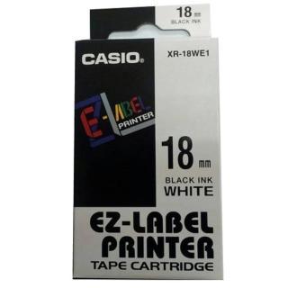 【CASIO 卡西歐】標籤機專用色帶-18mm白底黑字(XR-18WE1)