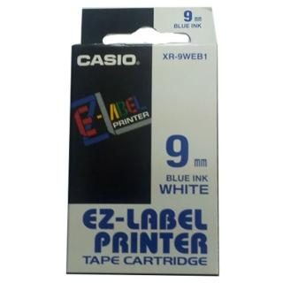 【CASIO 卡西歐】標籤機專用色帶-9mm白底藍字(XR-9WEB1)