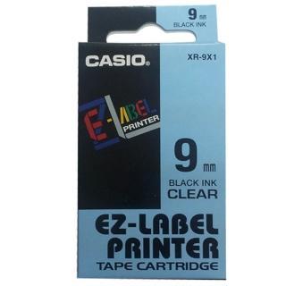 【CASIO 卡西歐】標籤機專用色帶-9mm透明底黑字(XR-9X1)