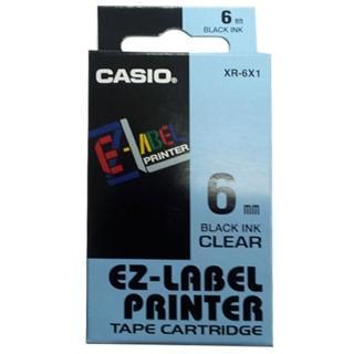 【CASIO 卡西歐】標籤機專用色帶-6mm透明底黑字(XR-6X1)