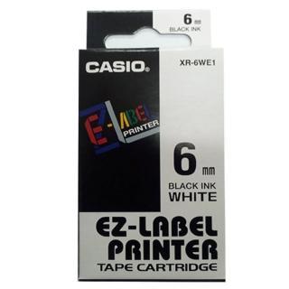 【CASIO 卡西歐】標籤機專用色帶-6mm白底黑字(XR-6WE1)