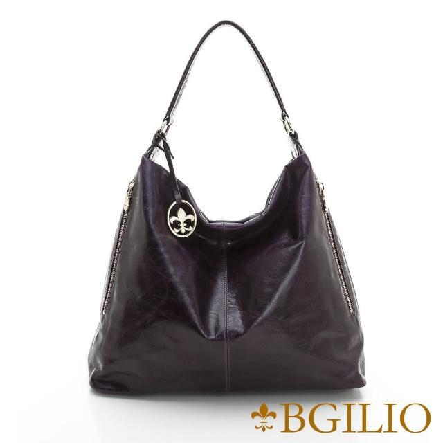 【義大利BGilio】義大利蜡感牛皮個性時尚肩背包-紫色(1944.005A-10)