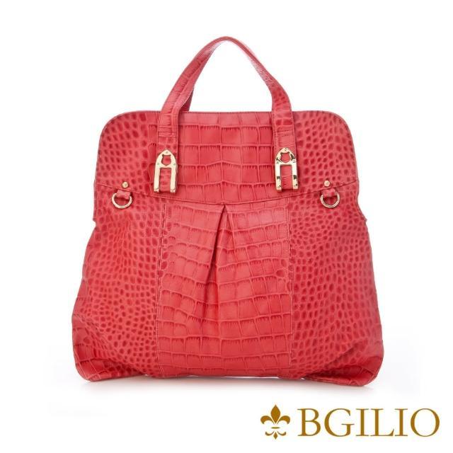 【義大利BGilio】個性有型鱷魚紋牛皮手提包-紅色(1198.002A-01)