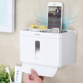 【F.O.S.O】免釘免鑽多功能浴室防水面紙盒(紙巾盒 衛生紙架 衛生紙盒)