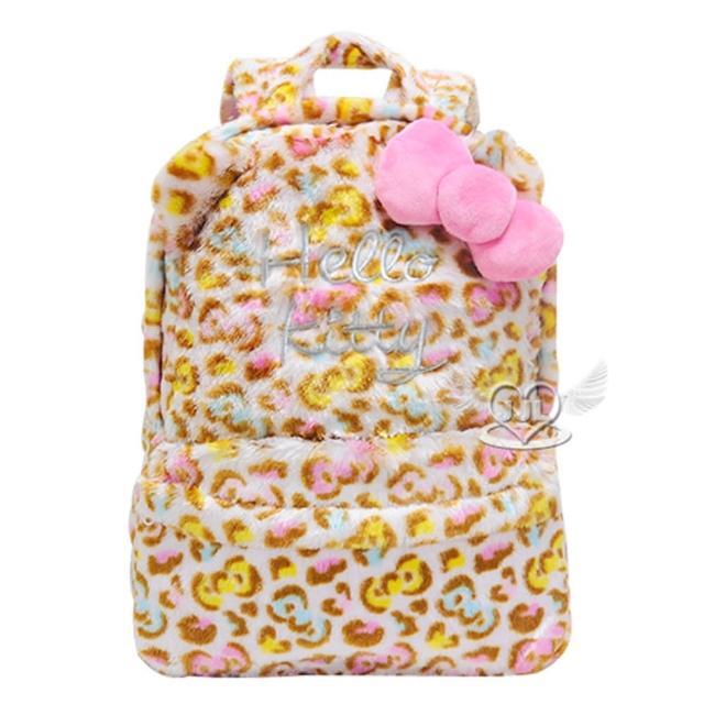 【TDL】HELLO KITTY絨毛豹紋後背包包 126707