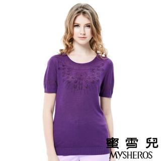 【mysheros 蜜雪兒】圓領水鑽網格針織上衣(紫)