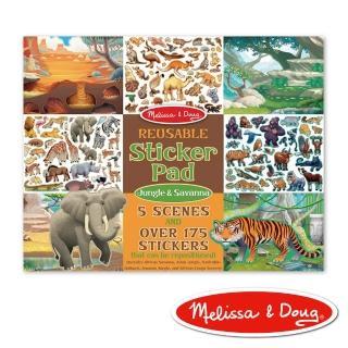 【Melissa & Doug 瑪莉莎】貼紙簿 - 可重複貼紙 - 熱帶叢林動物