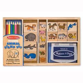 【Melissa & Doug 瑪莉莎】木製印章組 - 海陸動物組