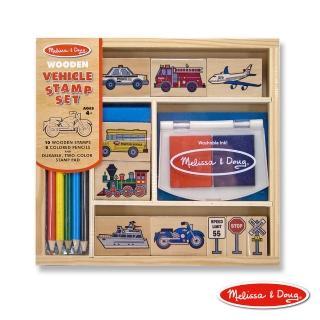 【Melissa & Doug 瑪莉莎】木製印章組 - 交通工具組