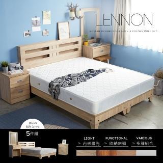 【H&D】藍儂田園鄉村風系列雙人房間組5件式-4色(床頭 床底 床頭櫃 床墊 化妝鏡台 房間組)