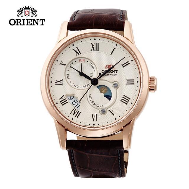 【ORIENT 東方錶】ORIENT 東方錶 SUN&MOON系列 日月相錶 皮帶款 玫瑰金-42.5mm(SAK00001Y)