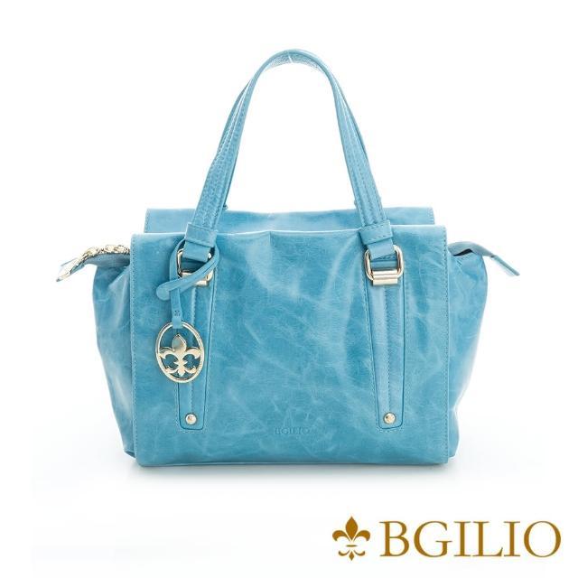 【義大利BGilio】青春亮麗臘感牛皮手提包-淺藍色(2111.002A-09)