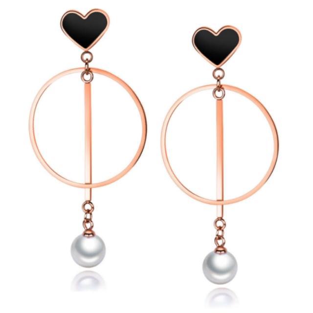 【I-Shine】西德鋼-甜美時光-氣質垂墜圈圈愛心珍珠玫瑰金鈦鋼耳環(玫瑰金)