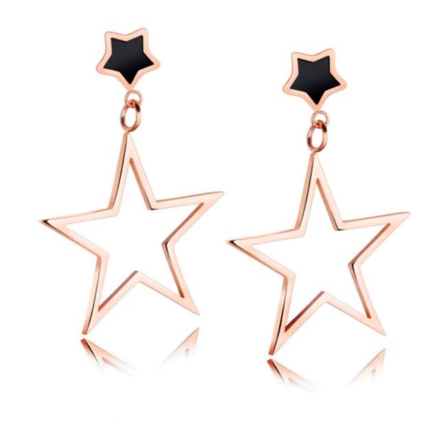 【I-Shine】西德鋼-五角星情-時尚垂墜星星玫瑰金鈦鋼耳環(玫瑰金)