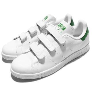 【adidas 愛迪達】休閒鞋 Stan Smith 男鞋 女鞋 愛迪達 低筒 復古 魔鬼氈 史密斯 白 綠(S75187)
