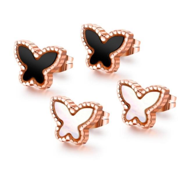【I-Shine】西德鋼-小飛蝶-可愛蝴蝶造型玫瑰金鈦鋼耳針耳環(2色)