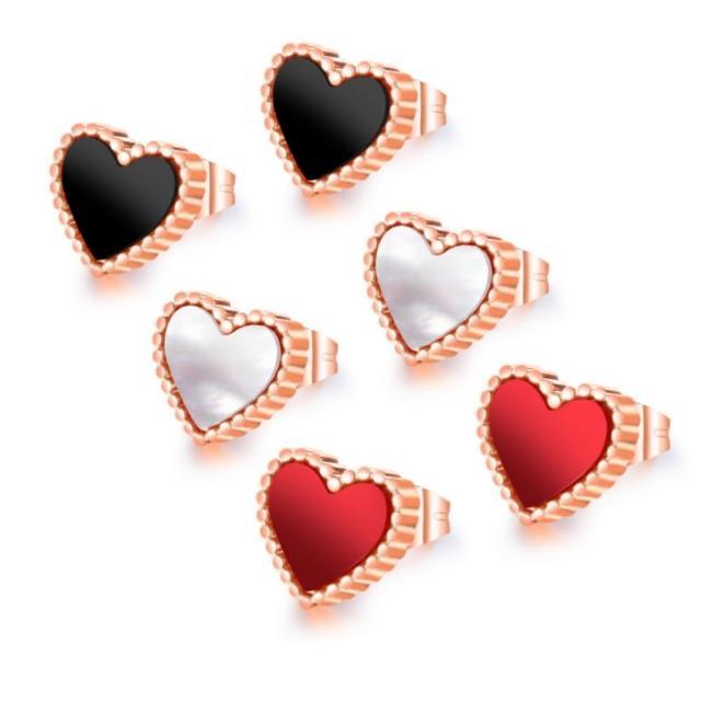 【I-Shine】西德鋼-小愛心-甜美愛心造型玫瑰金鈦鋼耳針耳環(3色)