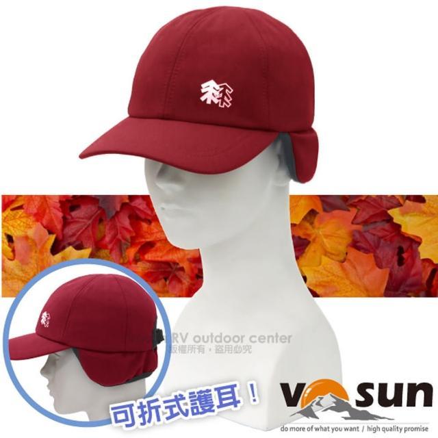 【VOSUN】WindStopper 經典防風透氣保暖兩用遮陽護耳帽子.棒球.健行登山帽(VO-1630 紅)