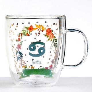 【Royal Duke】雙層玻璃咖啡杯/馬克杯/花茶杯-巨蟹座(星座杯-380ml)