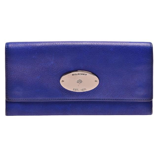 MULBERRY 經典Ccontinental系列金屬品牌LOGO小牛皮暗釦長夾(電光藍-展示品)RL8480-596-BLUE(展)
