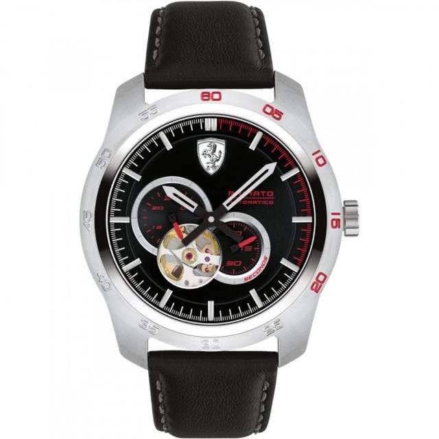 【Ferrari 法拉利】法拉利競速快感鏤空機械錶-黑/44mm(0830442)