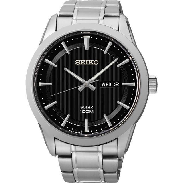 【SEIKO 精工】紳士風格太陽能時尚腕錶-黑/44mm(V158-0AS0D SNE363P1)