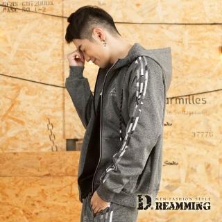 【Dreamming】潮款迷彩滾邊休閒連帽運動外套(共二色)