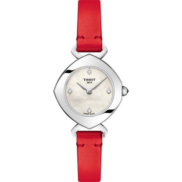 【TISSOT 天梭】Femini-T 都會儷人真鑽女錶-珍珠貝x紅/23mm(T1131091611600)