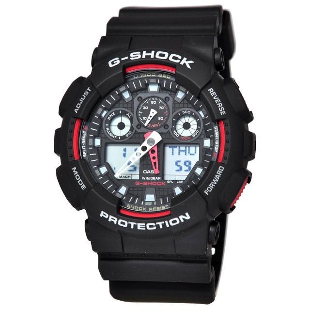 【CASIO 卡西歐】G-SHOCK系列 個性機械感三眼雙顯電子錶(黑/紅 GA100-1A4)