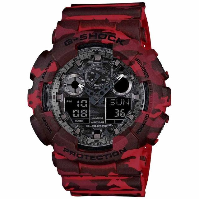 【CASIO 卡西歐】G-SHOCK系列 迷彩魅力時尚雙顯電子錶(迷彩紅 GA-100CM-4A)