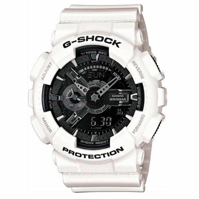 【CASIO 卡西歐】G-SHOCK系列 強悍風格質感抗磁雙顯電子錶(白/黑 GA-110GW-7A)