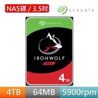 【SEAGATE 希捷】IronWolf 4TB 3.5吋 5900轉 NAS硬碟 含3年資料救援(ST4000VN008/組合用)