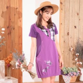 麗麗秀-視覺-5吋水洗棉洋裝式長版衣(C)