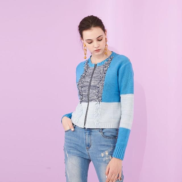 【ICHE 衣哲】設計款撞色拼接流蘇短版拉鍊針織造型外套 -藍