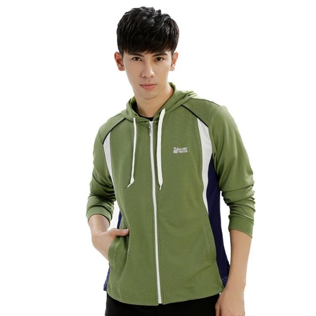 【遊遍天下】男版吸濕排汗透氣抗UV連帽外套GJ10011草綠(M-2L)/