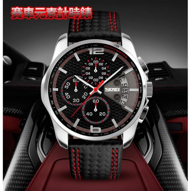 【美國熊】賽車風格 真三眼計時跑秒功能 真皮錶帶 深度防水 時尚運動風格腕錶(MEI-1064)
