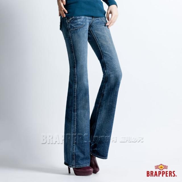 【BRAPPERS】女款 個性系列-純棉漸層洗色大喇叭褲(淺藍)