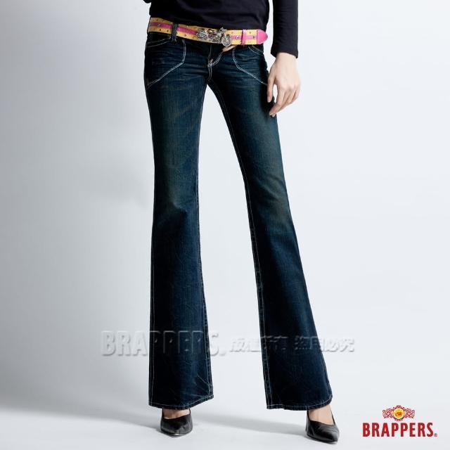 【BRAPPERS】女款 垮褲系列-深色漸層大喇叭褲(深藍)