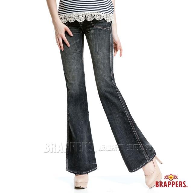【BRAPPERS】女款 個性系列-純棉漸層洗色大喇叭褲(藍)