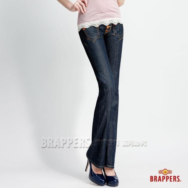 【BRAPPERS】女款 垮褲系列-三鈕釦式3D小喇叭褲(水洗藍)