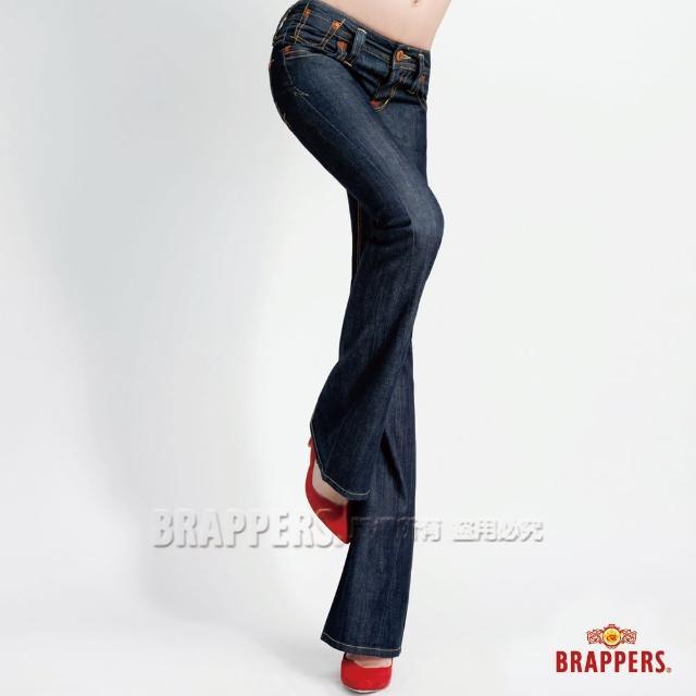 【BRAPPERS】女款 垮褲系列-深色刷磨小喇叭褲(水洗藍)