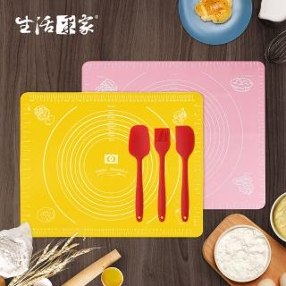 【生活采家】矽膠墊2入+大號調理3件組(烘焙揉麵攪拌)