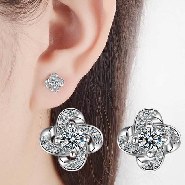 【梨花HaNA】韓國925銀四葉草璀璨禮物耳環