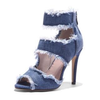 【Sp house】時尚牛仔破洞顯瘦細跟涼鞋(牛仔藍全尺碼)