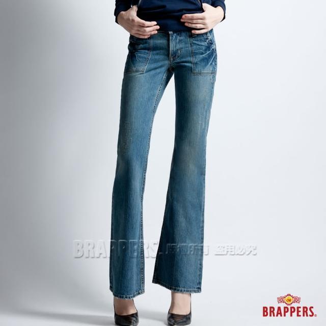 【BRAPPERS】女款 低腰寬版大喇叭褲(深藍)