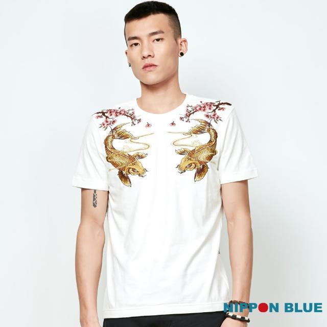 【BLUE WAY】金標黃金錦鯉精繡短TEE - 日本藍