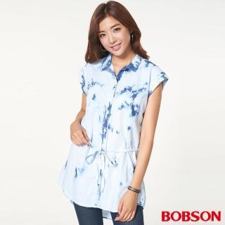 【BOBSON】女款綁花水洗長版衣(藍26130-58)