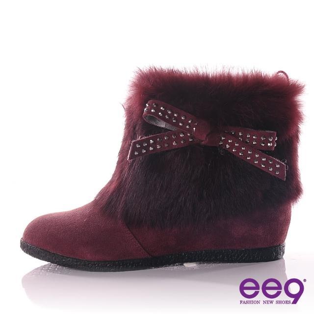 【ee9】ee9 气质甜氛~精致柔软兔毛蝴蝶结晶钻内增高短靴~华丽紫(中筒靴)