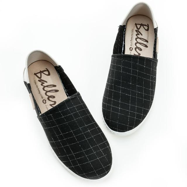 【Ballerina】格紋萊卡兩穿防磨休閒懶人鞋(黑)