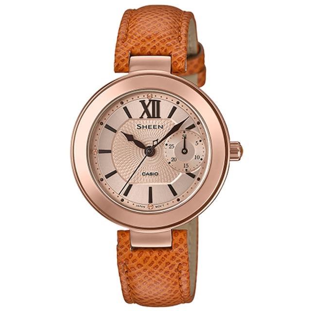 【CASIO 卡西歐】三眼女錶 皮革錶帶 防水50米 施華洛世奇水晶(SHE-3051PGL-7A)